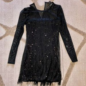 Black dress with fringes